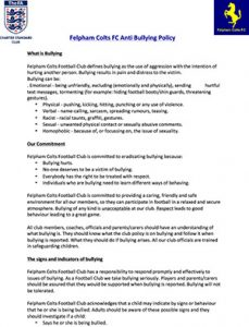Felpham Colts Anti-Bullying Policy linking to a PDF