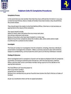 Felpham Colts Complaints Procedure linking to a PDF