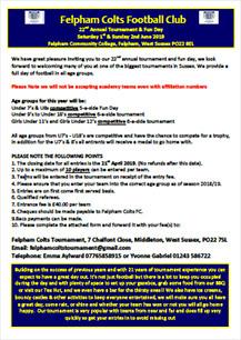 Felpham Colts Tournament 2019 Entry Form
